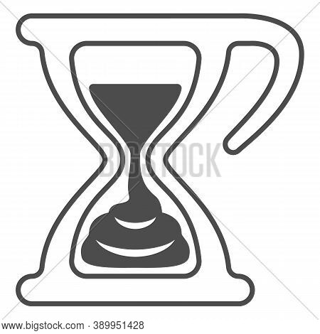 Melting Chocolate In Hourglass Thin Line Icon, Chocolate Festival Concept, Time For Chocolate Sign O