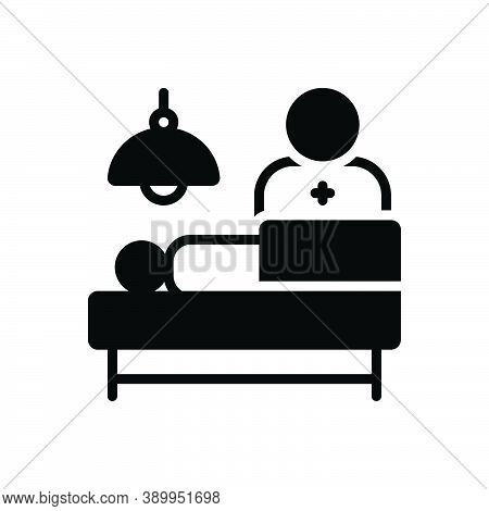 Black Solid Icon For Operation Patient Injured Bruised Hospital Healthcare Emergency Manipulation Su