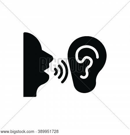Black Solid Icon For Secret Talk Wave Hearing Clandestine Confidential Ulterior Esoteric Undisclosed