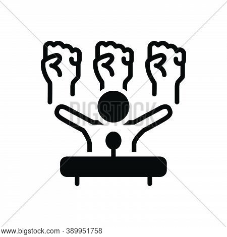 Black Solid Icon For Democracy Republic Gesture Community Freedom Candidate Speech