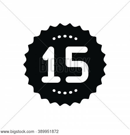 Black Solid Icon For Fifteen Age Number Count Half Celebrate Years