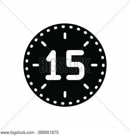 Black Solid Icon For Fifteen Number Count Half Celebrate Years