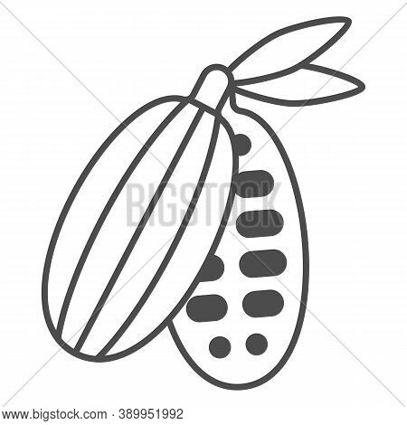 Cocoa Beans Thin Line Icon, Chocolate Festival Concept, Cocoa Pod Sign On White Background, Cacao Be