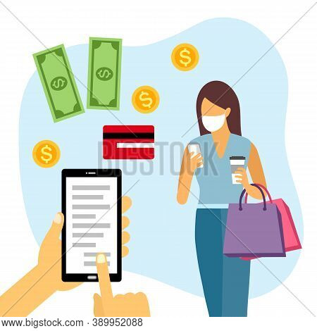Shopping Online And Payment Online Concept Vector Illustration. Internet Payment, Protection Money T