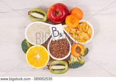 Nutritious Ingredients And Products Containing Vitamin B3 And Other Natural Minerals, Concept Of Hea