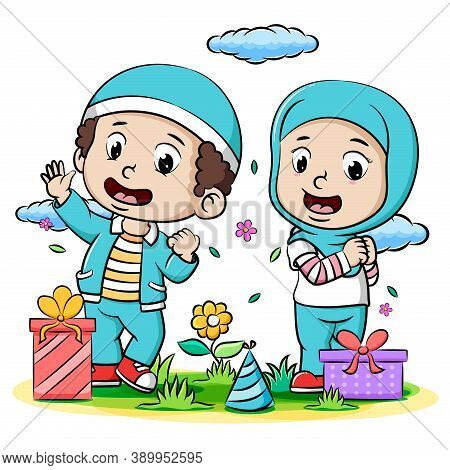 A Young Boy And A Young Girl Muslim Celebrating Ied Fitr Of Illustration