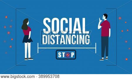 Social Distancing For Covid 19 With Couple Using Face Mask.keep Distance In Public Society People To