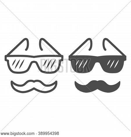 Glasses And Mustache Line And Solid Icon, Face Accessories Concept, Nerd Glasses And Mustaches Sign