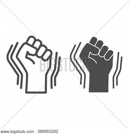 Raised Fist Gesture Line And Solid Icon, Black Lives Matter Concept, Human Hand Up Blm Sign On White