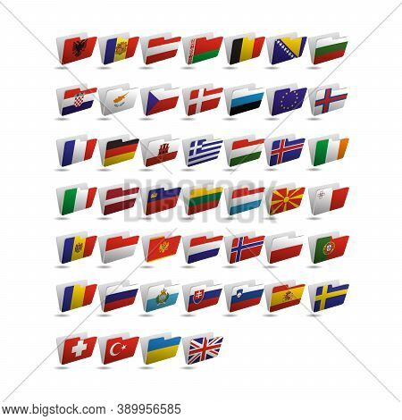 Set Of Folder Icons With Flags Of Europe. 10 Eps.