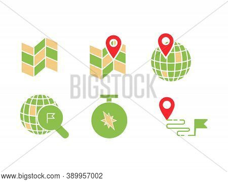 Geo Location Icon Set With Map, Pin, World With Pin, Location Searching, Compass And Destination Fla