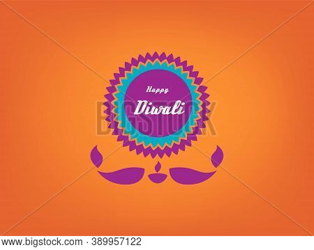 Happy Diwali Concept With Mandala And Lighting Candle Underneath. Diwali Sale Icon Vector Concept