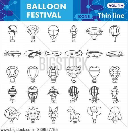 Balloon Festival Thin Line Icon Set, Hot Air Balloon Symbols Collection Or Sketches. Festive Balloon