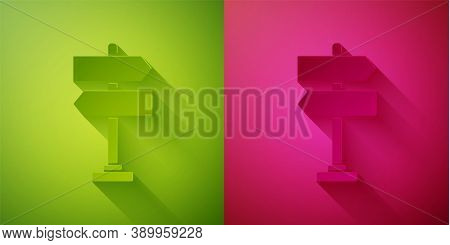 Paper Cut Road Traffic Sign. Signpost Icon Isolated On Green And Pink Background. Pointer Symbol. Is