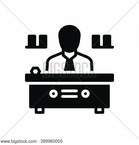 Black Solid Icon For Director Manager Warden Administrator Chief Executive Head Producer Supervisor