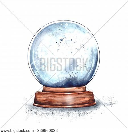Watercolor Illustration: Magic Christmas Glass Snow Globe On A Wooden Stand Empty Inside.new Years S