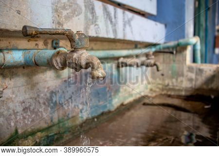 Old Faucet With Water Drop, Water Consumption Concept, Hydrant Close-up, Old Faucet Water Or Valve T