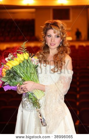 MOSCOW - FEBRUARY 3: Actress Anastasia Makeeva smiles after musical