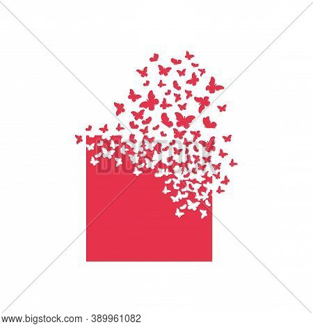 The Square Shape Turns Into A Cloud Of Butterflies. Effect Of Destruction. Dispersion. Butterfly, Mo