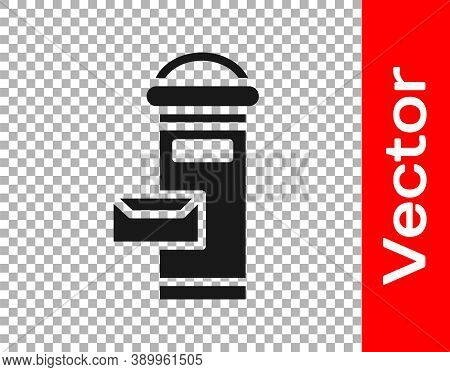 Black Traditional London Mail Box Icon Isolated On Transparent Background. England Mailbox Icon. Mai