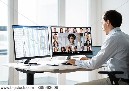 Video Conference Meeting Call. Videoconferencing Webinar Technology