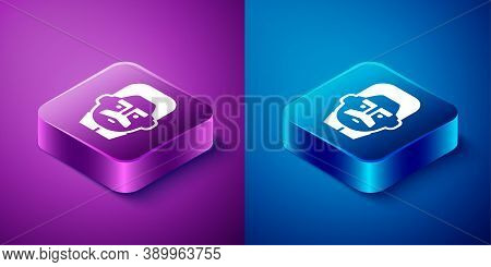 Isometric Portrait Of Joseph Stalin Icon Isolated On Blue And Purple Background. Square Button. Vect