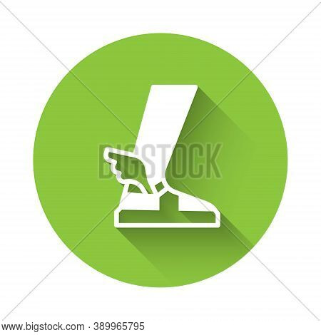 White Hermes Sandal Icon Isolated With Long Shadow. Ancient Greek God Hermes. Running Shoe With Wing