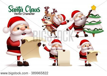 Santa Claus Character Vector Set. Santa Claus Characters In Reading Wish List, Riding Reindeer And C
