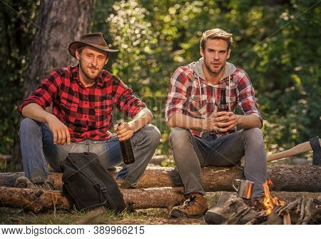 Communication. Spend Picnic Weekend In Nature. Adventure Concept. Hike And People. Two Men Relax At