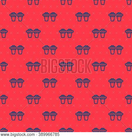 Blue Line Water Filter Icon Isolated Seamless Pattern On Red Background. System For Filtration Of Wa