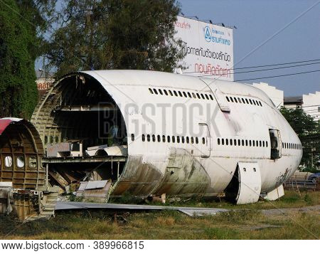 Bangkok, Thailand, April 12, 2016: Remains Of The Fuselage Of Large Abandoned Aircraft In Bangkok. T