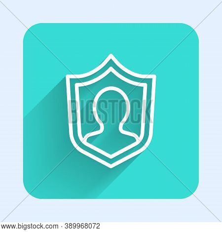 White Line User Protection Icon Isolated With Long Shadow. Secure User Login, Password Protected, Pe