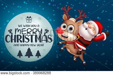Christmas Santa Claus Vector Concept Design. Merry Christmas Text In Moon Element With Santa Riding