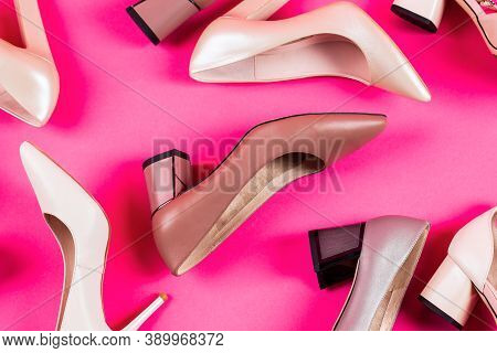 Shoe For Women. Stylish Classic Women Leather Shoe. High Heel Women Shoes On Red Background. View Fr