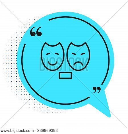 Black Line Comedy And Tragedy Theatrical Masks Icon Isolated On White Background. Blue Speech Bubble