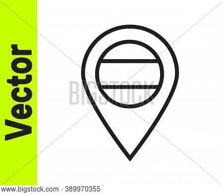 Black Line Location Russia Icon Isolated On White Background. Navigation, Pointer, Location, Map, Gp