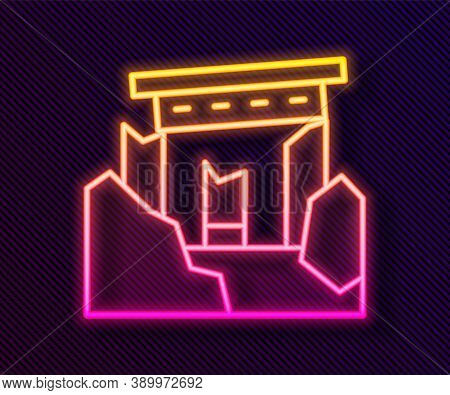 Glowing Neon Line Ancient Ruins Icon Isolated On Black Background. Vector