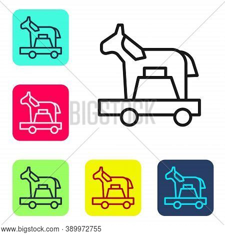 Black Line Trojan Horse Icon Isolated On White Background. Set Icons In Color Square Buttons. Vector