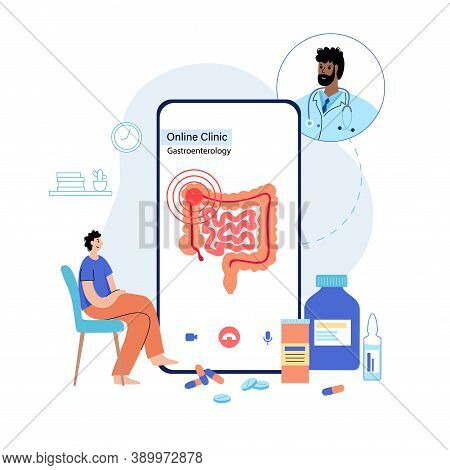 Pain Or Inflammation In Intestine. Bowel, Appendix, Rectum And Colon Anatomy. Cancer In Human Body.