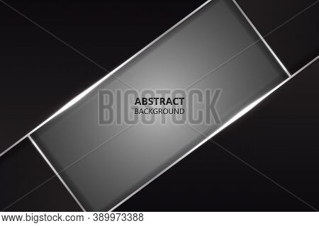 Modern Abstract Design Background With Black And Silver Polygonal Metal Shapes. Dark Metal Texture.