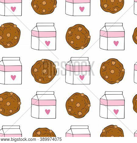 Chocolate Chip Cookies. Cookies And Milk. Seamless Vector Pattern (background). Cartoon Print.