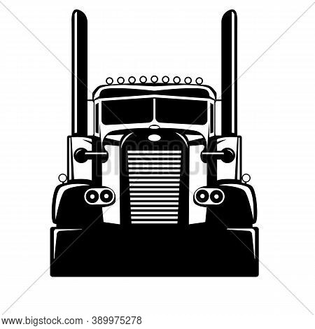 Semi Usa Truck, Vector Illustration , Flat Style, Front View