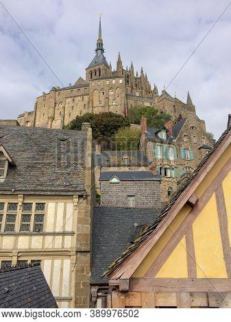 Mont Saint Michel , Normandy / France 10 30 2019 : Mont Saint Michel Tidal Island In Normandy, Franc