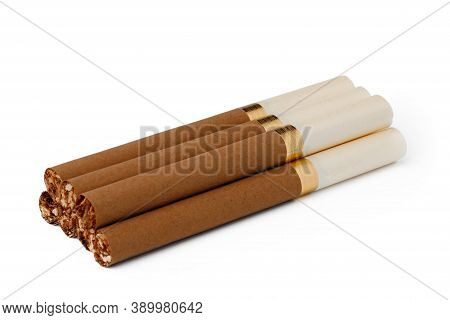 Bunch Of Cigarettes Isolated On White Background