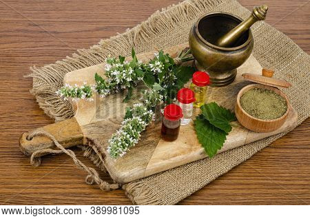 The Use Of Herbs In Folk Medicine, Bottles Of Tinctures.