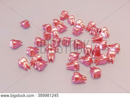 Unusual Red Molar Teeth Are Scattered On A Plane. 3d Illustration