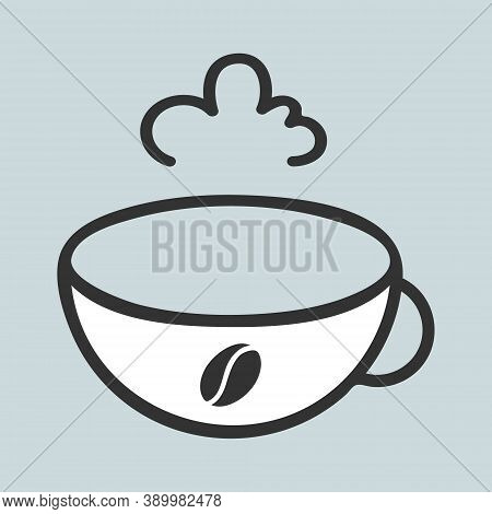 A Cup Of Coffee Icon With Bean Symbol, Vapour Sign. Outline Black Contour Line Template. Simple Cute