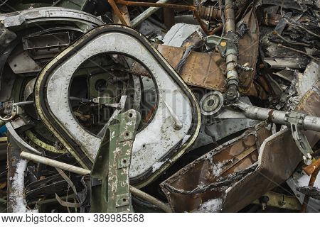 Plane Wreckage, Parts Of The Fuselage Of A Burned And Broken Aircraft At A Non-ferrous Scrap Dump Fo