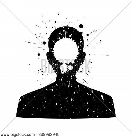 Man Silhouette Profile. Man With Blot On Face.