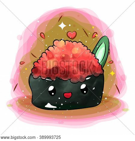 The Illustration Of Cute Masago With Salmon Roe On Top